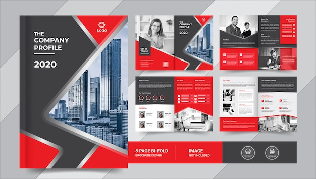 Red & black business brochure template
