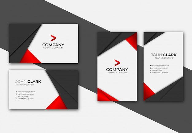 Red and black business card template set