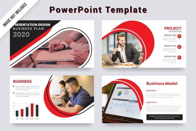 Red and black business presentation slides with photo
