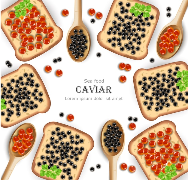 Red and black caviar toasts