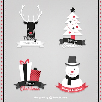 Red and black christmas badges