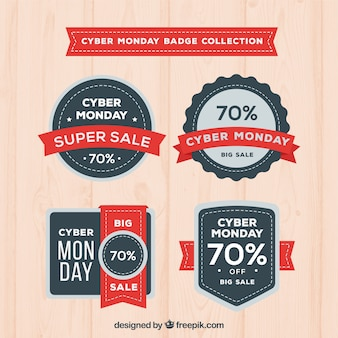 Red and black cyber monday labels