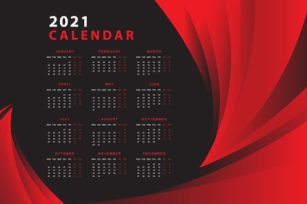 Red and black  design calendar 2021