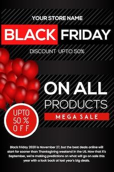 Red and black elegant black friday poster design