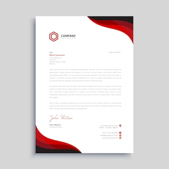 Red and black elegant letterhead design template