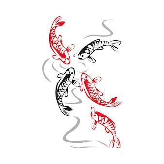 Красная черная рыба наброски иллюстрации