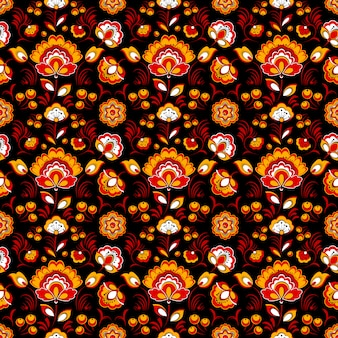 Red black floral seamless pattern in russian tradition