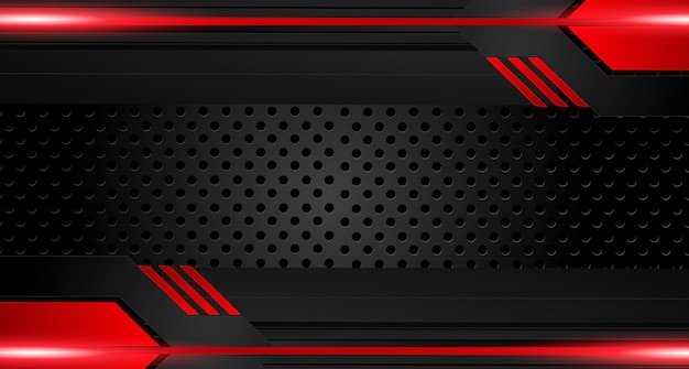 Red black frame layout modern tech design background