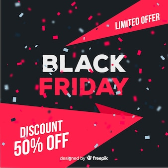 Red black friday in flat design