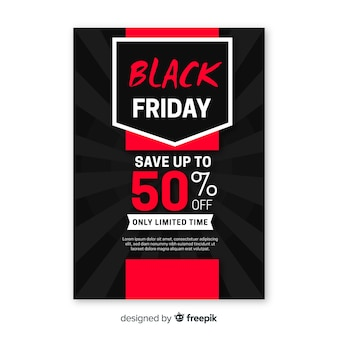 Red black friday flyer in flat design