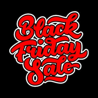 Red black friday sale lettering in graffiti style. Premium Vector
