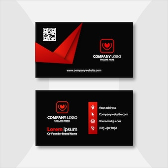 Red and black geometric business card template design