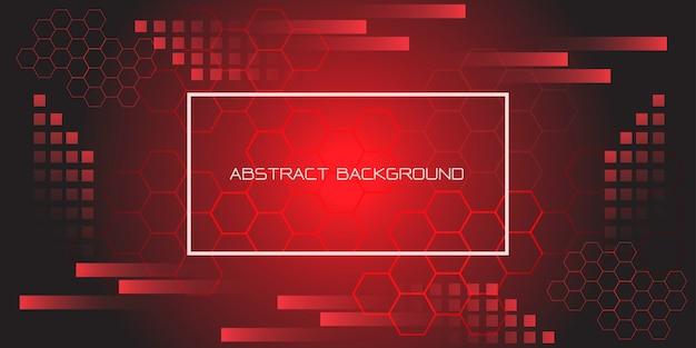 Red black geometric hexagon with white frame and text futuristic background.