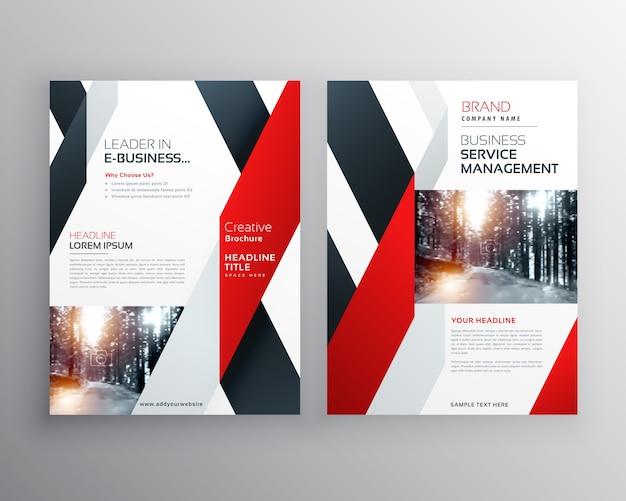 Красный черный геометрическая форма бизнес флаер дизайн плаката шаблон