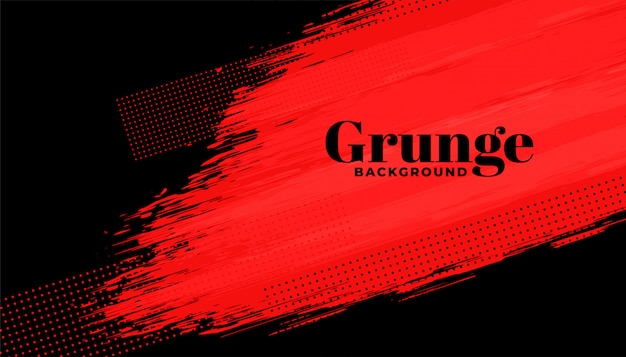 Red and black grunge abstract brush stroke background