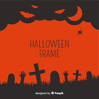 Red and black halloween frame