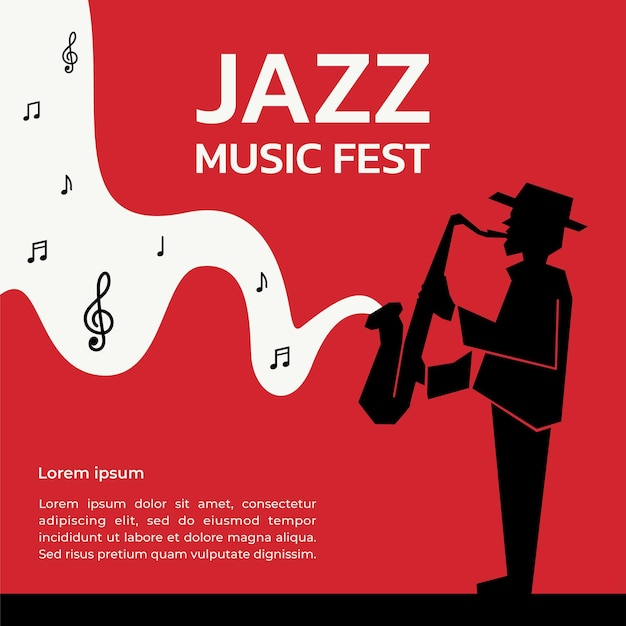 Red and black jazz music fest background template design