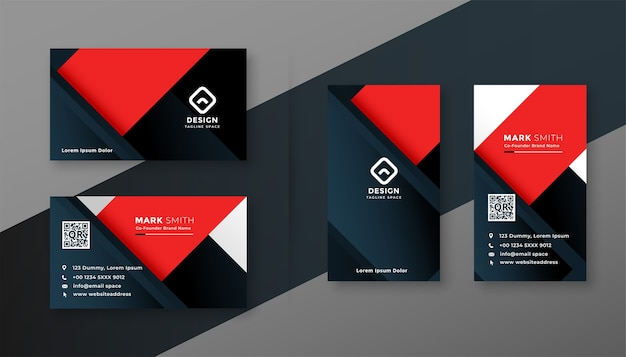 Red and black modern business card geometric template