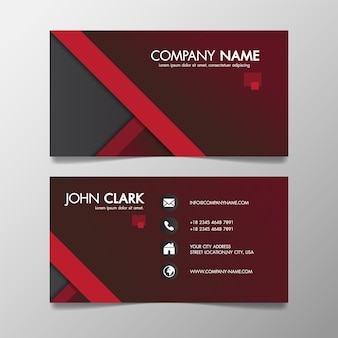 Red and black modern creative business template patterned and name card