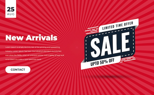 Red and black modern sale banner for web and social media with description of product contact us button date and sale tag of discount offer premium