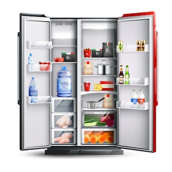 Red and black open refrigerator with products