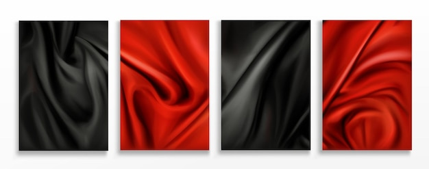 Red and black silk folded fabric backgrounds set