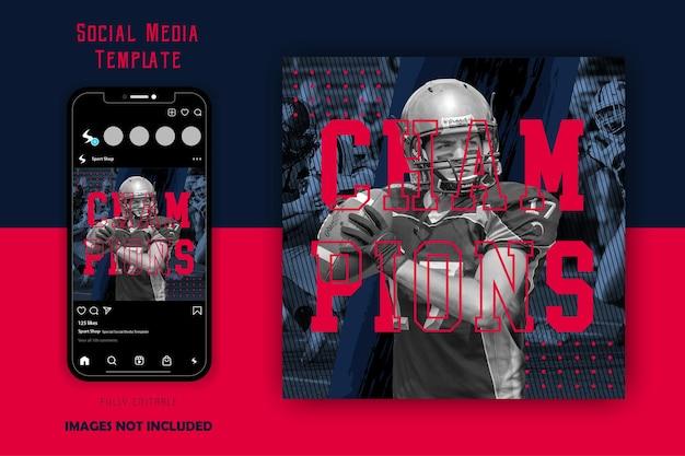 赤黒スポーツスポーティーフットボールラグビー男性ソーシャルメディア投稿テンプレート