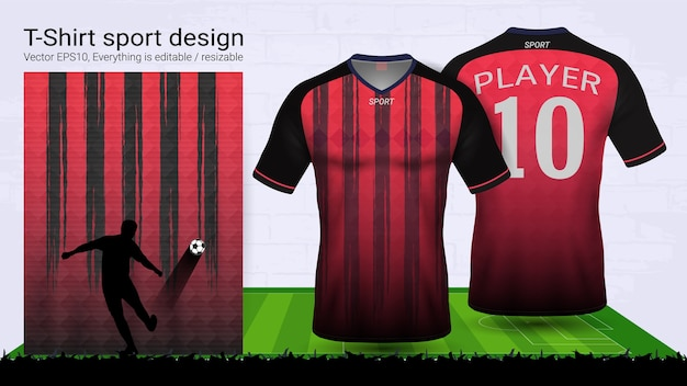 Red and black t-shirt sport mockup template