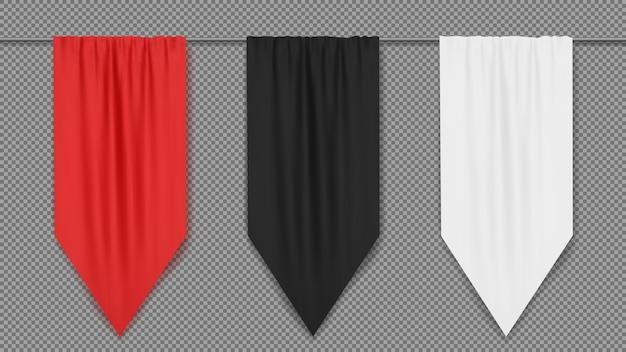 빨강, 검정, 흰색 빈 수직 깃발 배너 템플릿.
