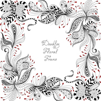 Red, black and white floral pattern
