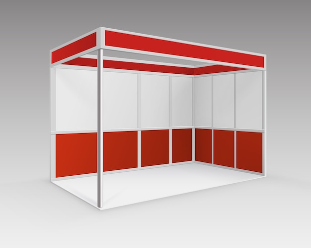 Red blank indoor trade exhibition booth standard stand for presentation in perspective isolated on background