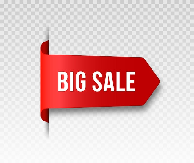 빨간색 빈 가격 레이블 리본 및 판매 배너 투명 그림자가 있는 3d 헝클어진 아이콘