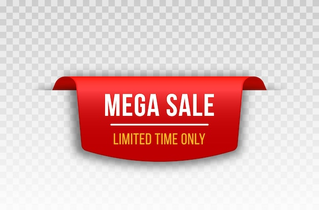 Red blank tape banner for advertising promotion sale text heading title decoration