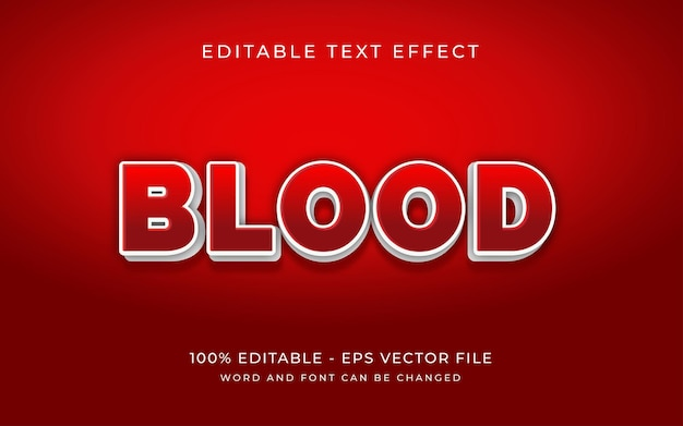 Red blood 3d text effect style editable text effect