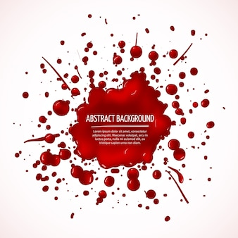 赤い血のスプラッシュ抽象的な背景。ドロップ液体、ステインインク、スポットアンドブロット、ベクトル図