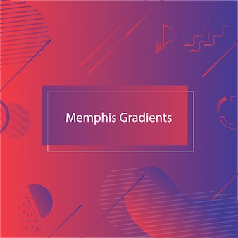 Red-blue abstract geometric shapes banner in memphis style.