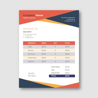 Red and blue abstract invoice template