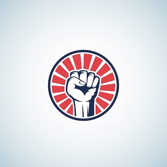 Red and blue activist rebellion fist symbol. abstract