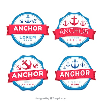 Red and blue anchor badge collection