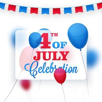 Palloncini rossi e blu o buntings decorato sfondo per il 4 luglio, celebrazione di american independence day.