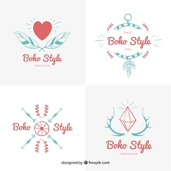 Red and blue boho logos