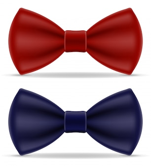 Red and blue bow tie for men a suit
