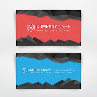 Red and blue business card with abstract triangle