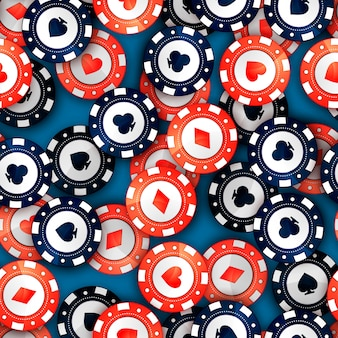 Red and blue casino chips with cards signs on table, seamless pattern