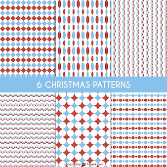 Red and blue christmas patterns