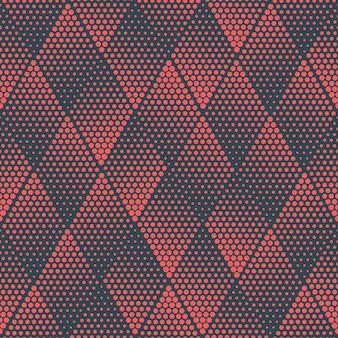 Red blue colored geometric rhombus halftone seamless pattern