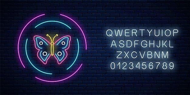 Red and blue colorful batterfly glowing neon sign in round frames with alphabet on dark brick wall background. spring flyer emblem in circle. night street advertising symbol. vector illustration.
