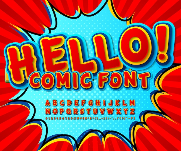 Red and blue comics font. cartoonish funny alphabet in pop art style