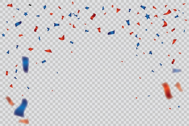 Red and blue confetti template