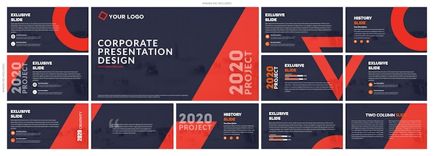 Red blue creative presentation templates elements